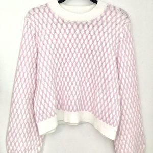 NWOT Anthropologie pink and white Pepin sweater